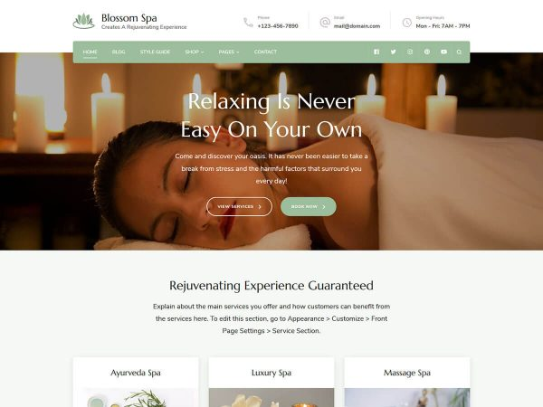 Blossom Spa Free wordpress theme overview